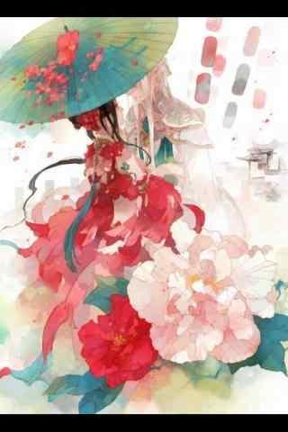 手绘古风红衣美人唯美手机壁纸