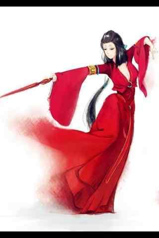 手绘古风红衣美人跳舞壁纸