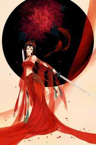 好看的手绘古风红衣美人手机壁纸