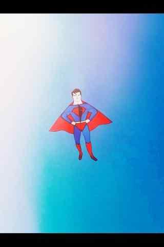 清明节习俗-创意超人风筝手机壁纸