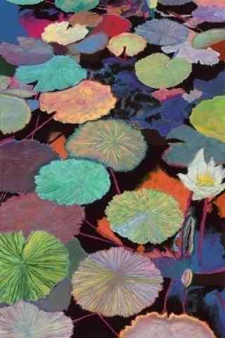 创意水彩画莲叶手机壁纸