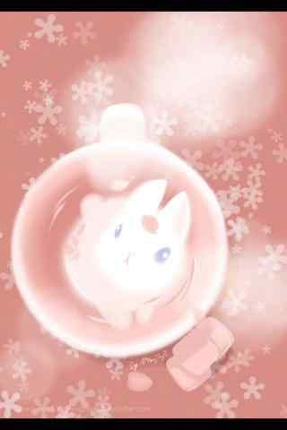 创意手绘小兔子杯子手机壁纸