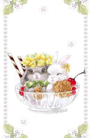 可爱手绘小兔子杯子手机壁纸