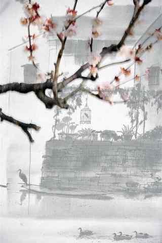 烟雨江南水墨画手机壁纸