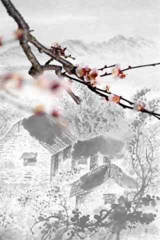 烟雨江南水墨画风景手机壁纸