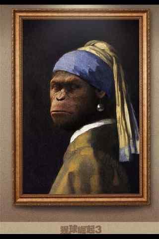 电影猩球崛起3创意油画手机海报