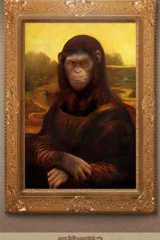 电影猩球崛起3创意蒙娜丽莎的微笑手机海报
