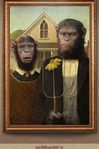 电影猩球崛起3创意油画手机壁纸