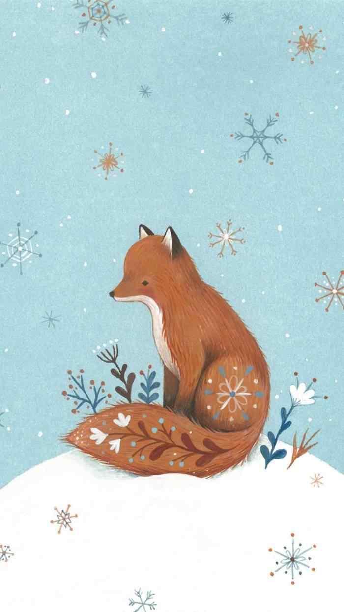 狐狸唯美手绘手机壁纸