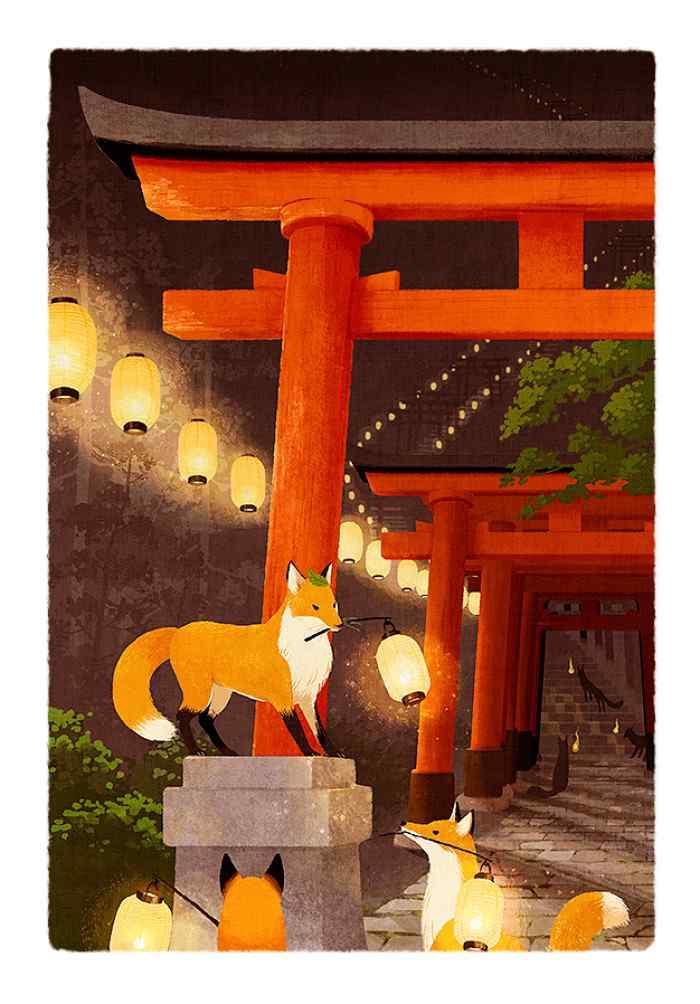 可爱的狐狸手绘高清手机壁纸