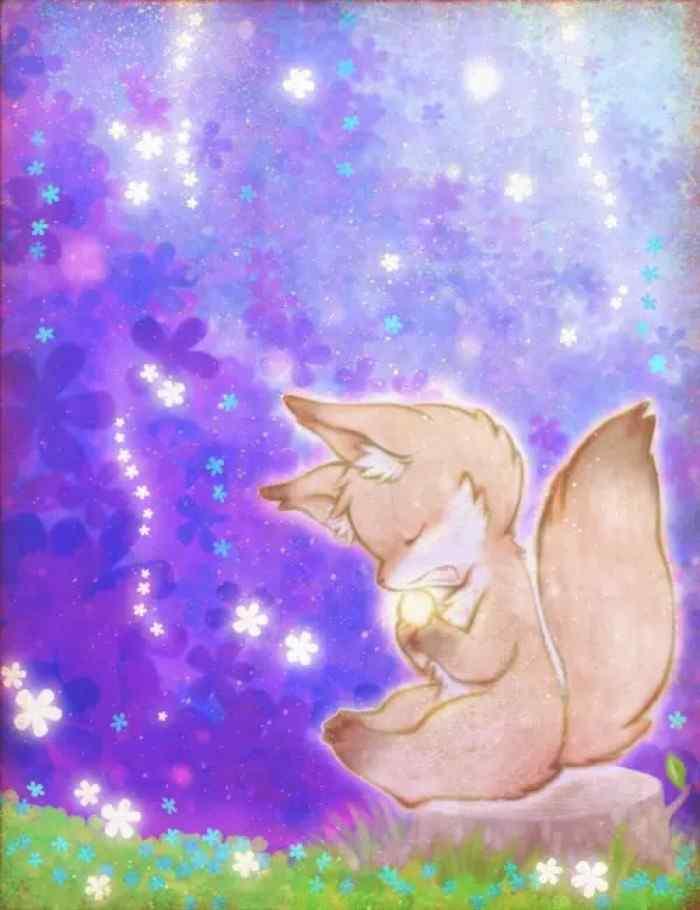 手绘小狐狸可爱手机壁纸