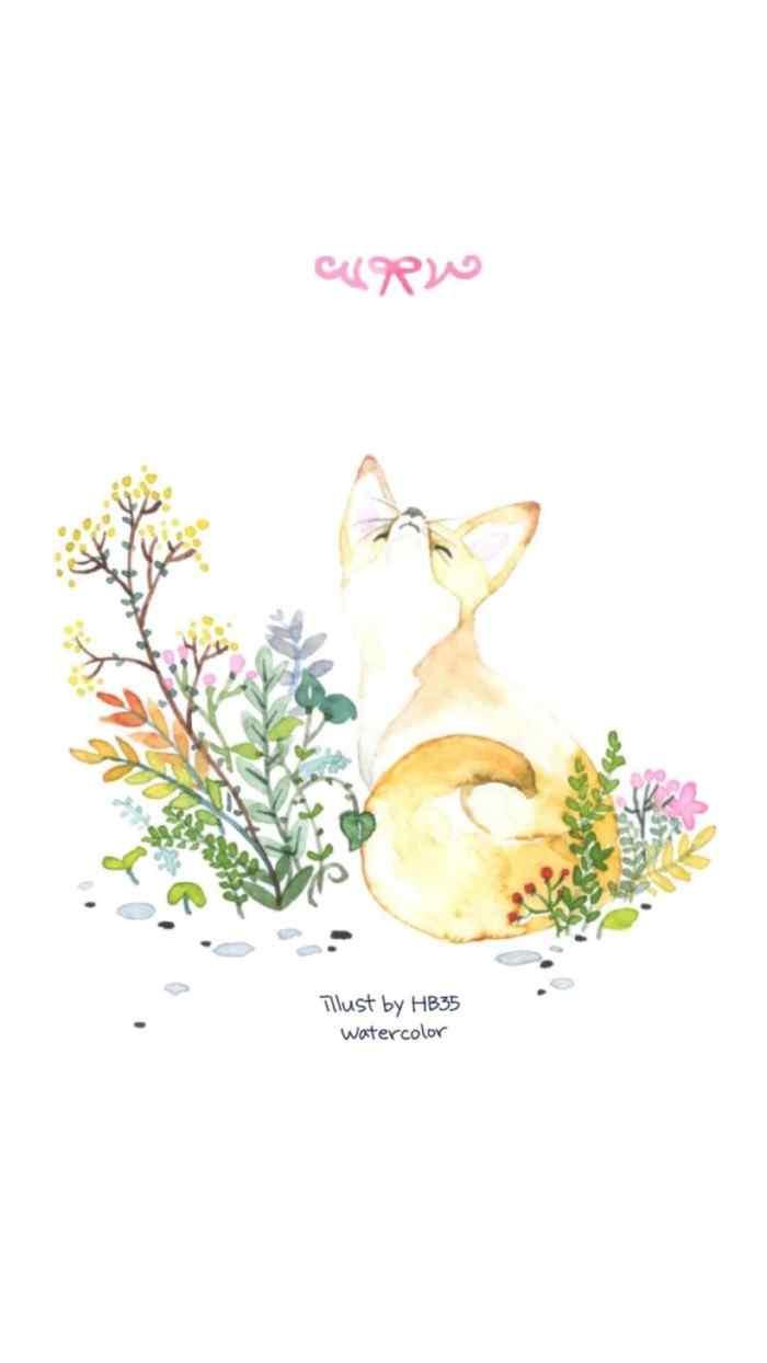 小狐狸唯美手绘手机壁纸