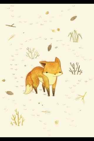 可爱的狐狸手绘手机壁纸
