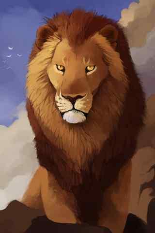 手绘霸气狮子手机壁纸