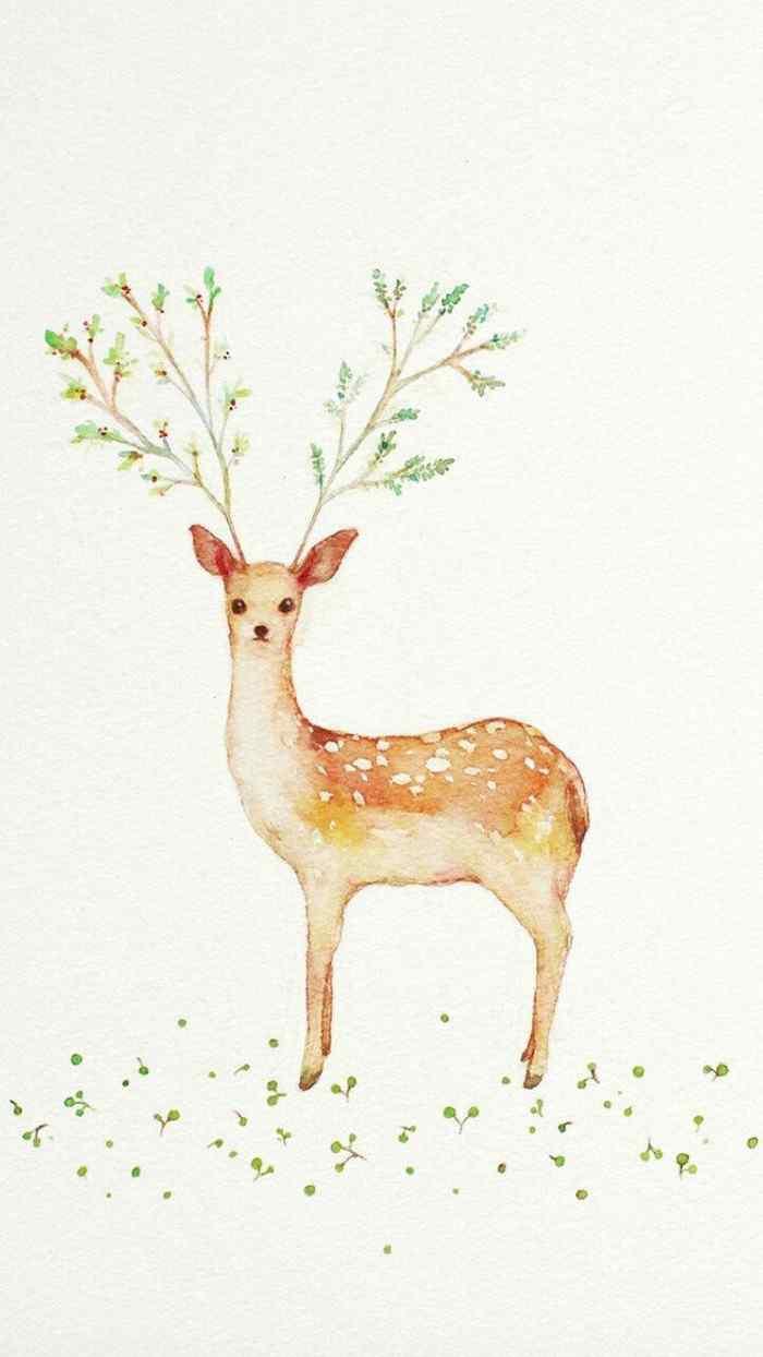 小清新可爱手绘麋鹿手机壁纸