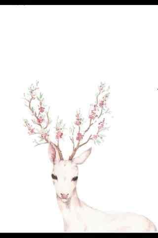 唯美水彩手绘麋鹿