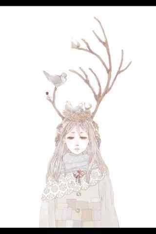 唯美手绘麋鹿少女