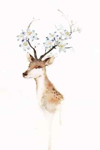 美丽的手绘麋鹿手机壁纸