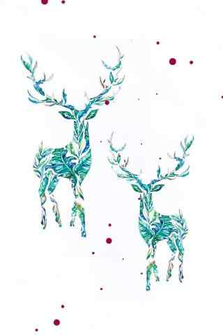 创意个性手绘麋鹿手机壁纸