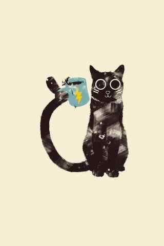 黑猫卡通手绘手机壁纸