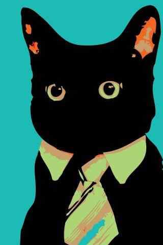 黑猫创意造型手机壁纸