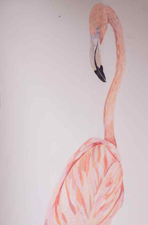 火烈鸟手绘简约图片手机壁纸