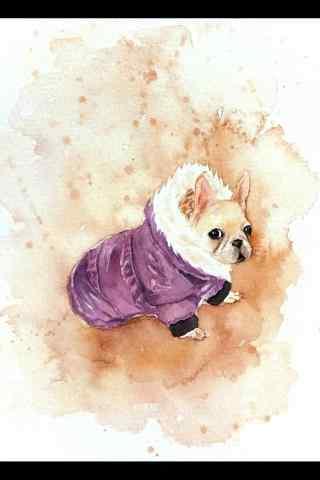 手绘小斗牛犬可爱图片手机壁纸