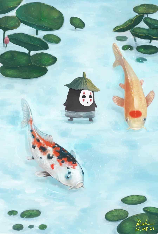 可爱锦鲤插画手机壁纸