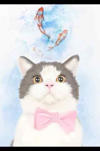 呆萌手绘猫咪与金鱼手机壁纸