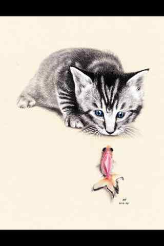 可爱的猫咪手绘手机壁纸