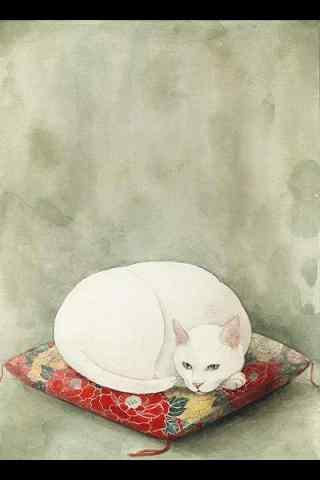 白色手绘猫咪手机壁纸