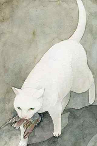 手绘白色猫咪叼鱼手机壁纸