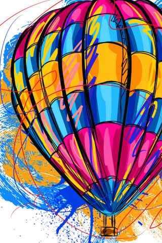多彩热气球创意手图片
