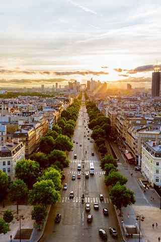 法国唯美风景之日落巴黎手机壁纸