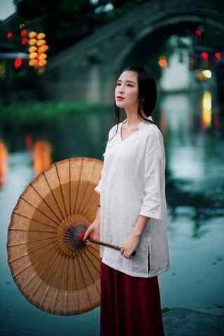 美丽江南女子与西塘古镇手机壁纸