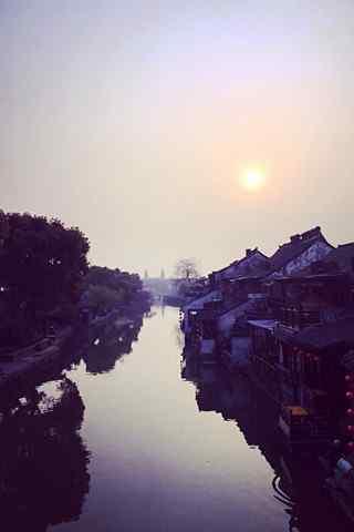 西塘古镇的安静晨曦风景手机壁纸