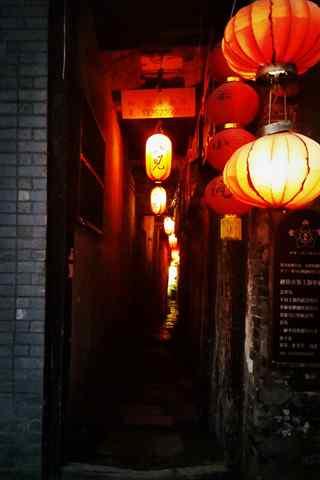 西塘夜景之灯笼照小巷手机壁纸