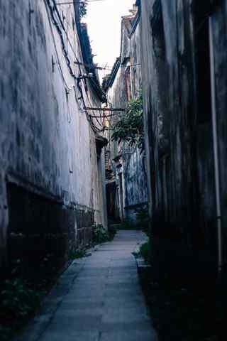 甪直古镇的幽静小巷风景手机壁纸