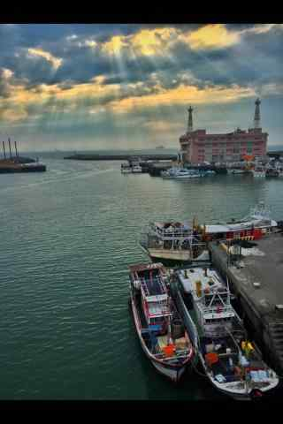 台北淡水渔人码头夕阳风景手机壁纸