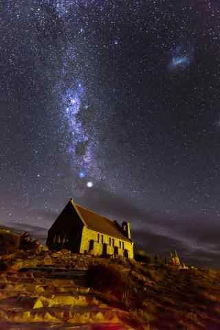 新西兰唯美的好牧羊人教堂星空手机壁纸