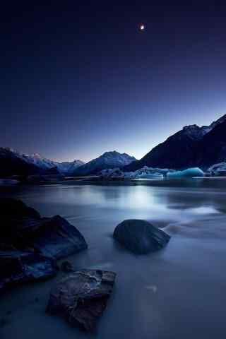 新西兰美丽的新西兰库克山区夜景手机壁纸