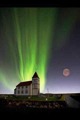 冰岛绮丽极光摄影手机壁纸