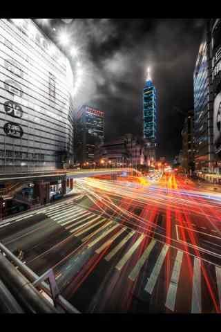 个性创意台北101大楼夜景手机壁纸
