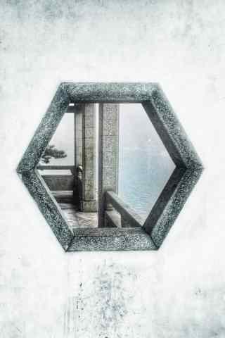 庐山文艺复古园林式窗景手机壁纸