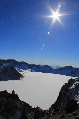 晴空下的长白山天池风景图片手机壁纸