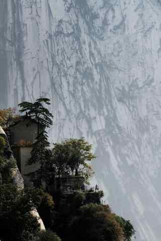 华山黑白创意摄影图片手机壁纸