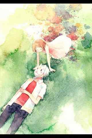萤火虫之森阿银和竹川萤躺在草地上手机壁纸