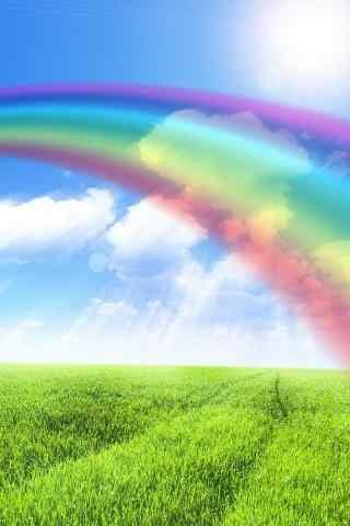 彩虹绿色风景手机壁纸