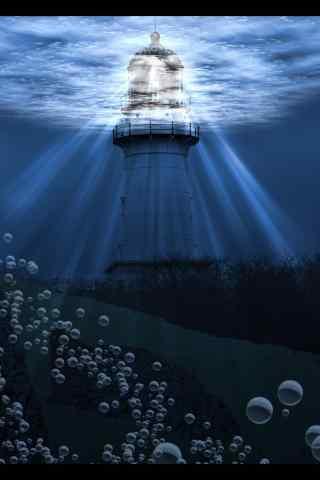 浪漫水底灯塔手机