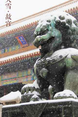 文艺的故宫雪景手机壁纸